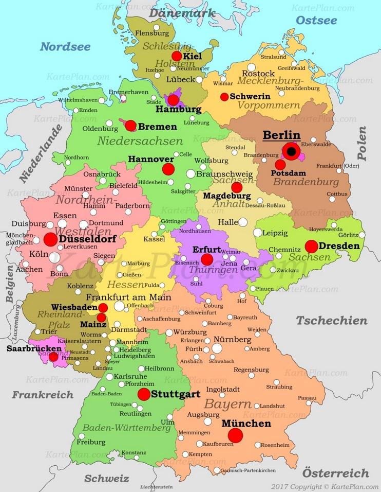 Detaillierte karte von Deutschland