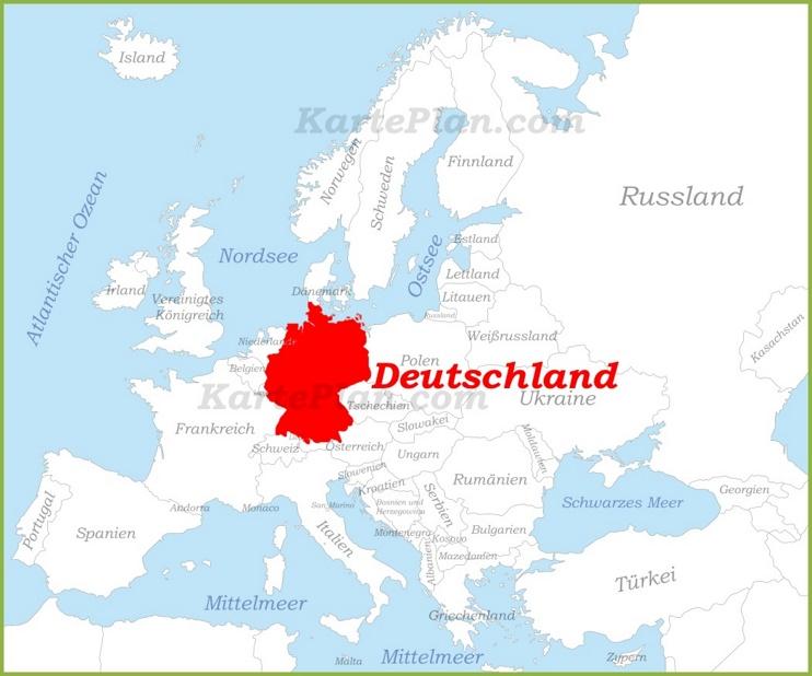 Deutschland auf der karte Europas