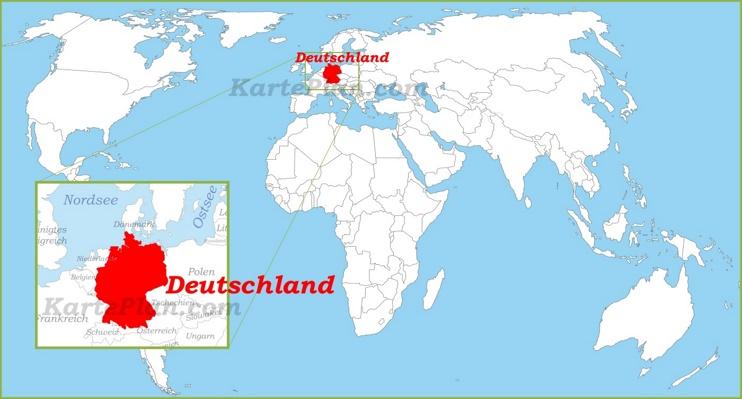 Deutschland auf der Weltkarte
