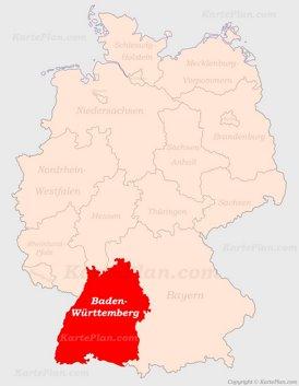 Baden-Württemberg auf der Deutschlandkarte