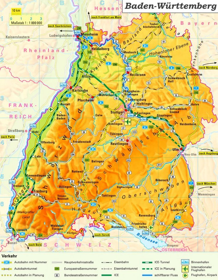 Detaillierte karte von Baden-Württemberg