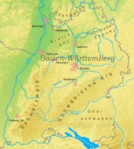 Physische landkarte von Baden-Württemberg