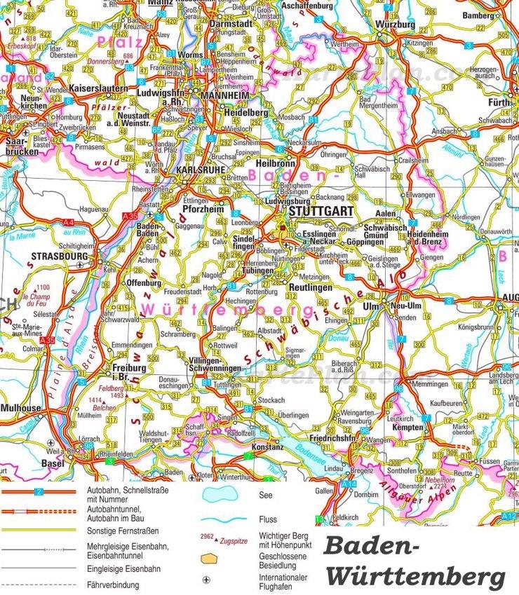 Straßenkarte von Baden-Württemberg