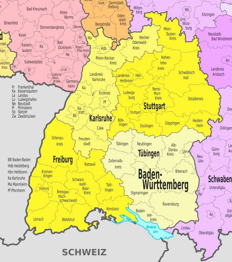 Verwaltungskarte von Baden-Württemberg