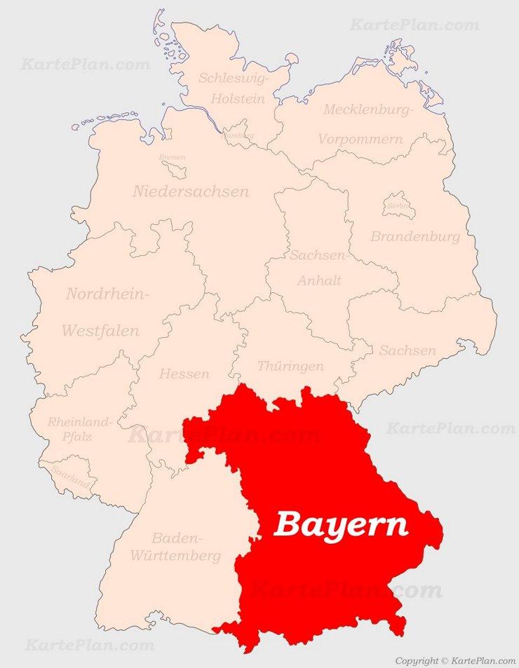 Bayern auf der Deutschlandkarte