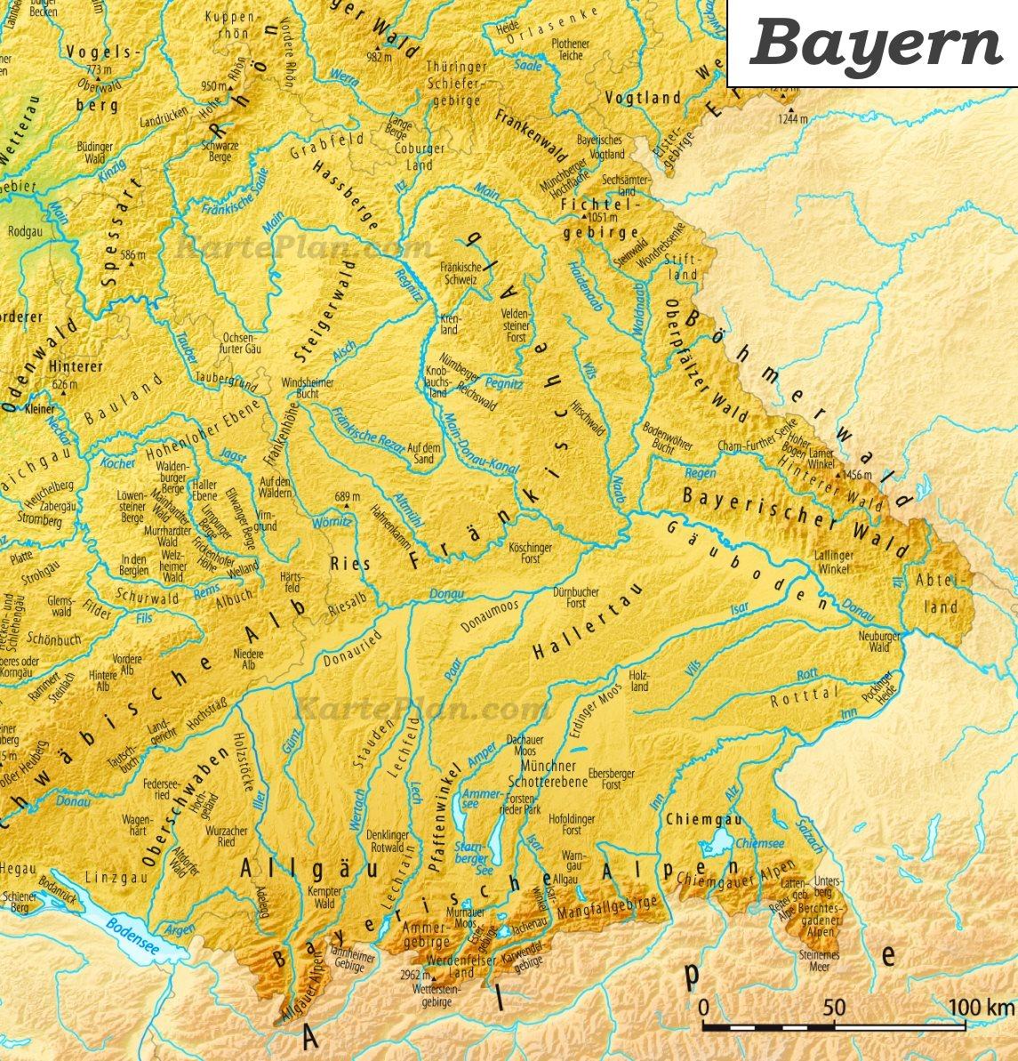 Karte Bayern.Physische Landkarte Von Bayern