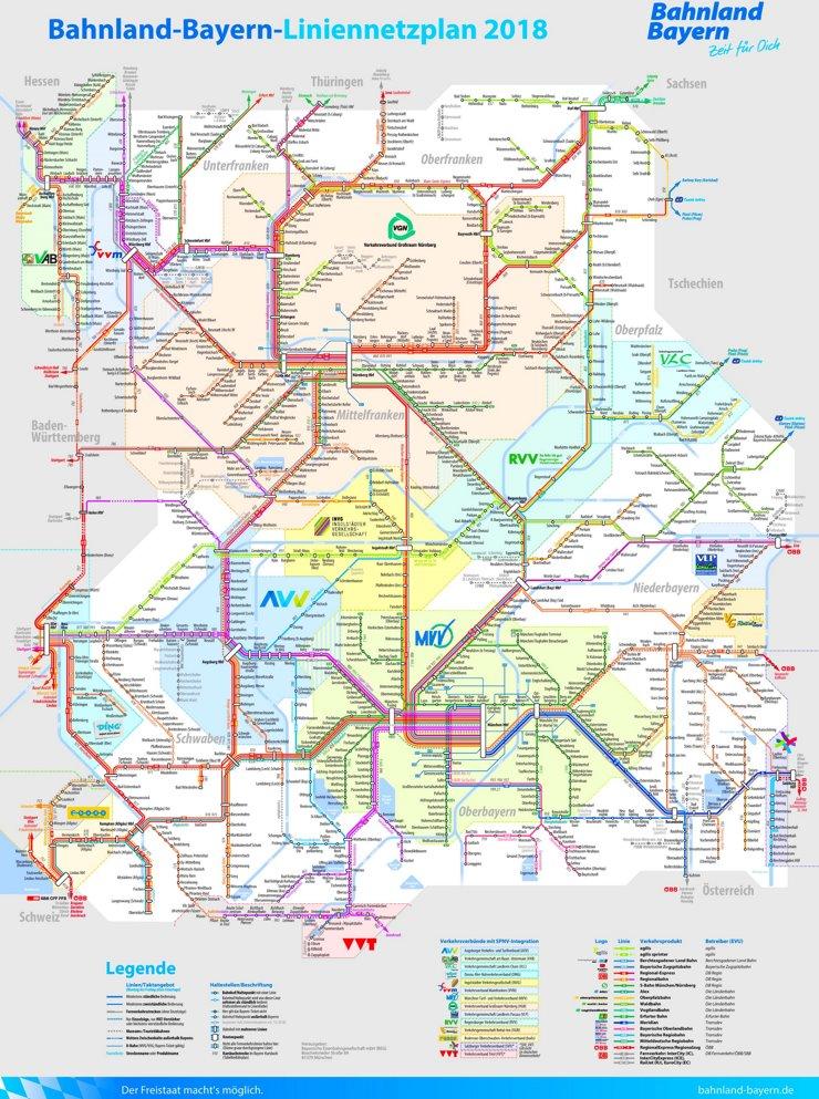 Schienennetz karte von Bayern