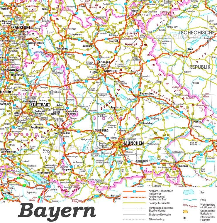 Straßenkarte von Bayern