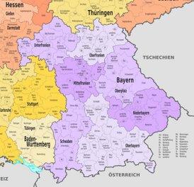 Verwaltungskarte von Bayern