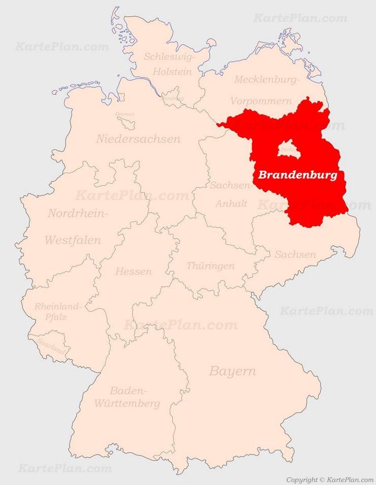 Brandenburg auf der Deutschlandkarte