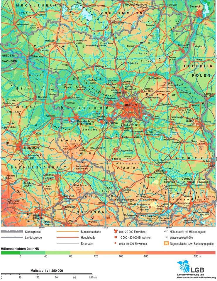 Physische landkarte von Brandenburg