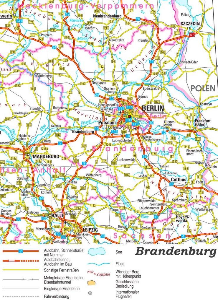 Straßenkarte von Brandenburg