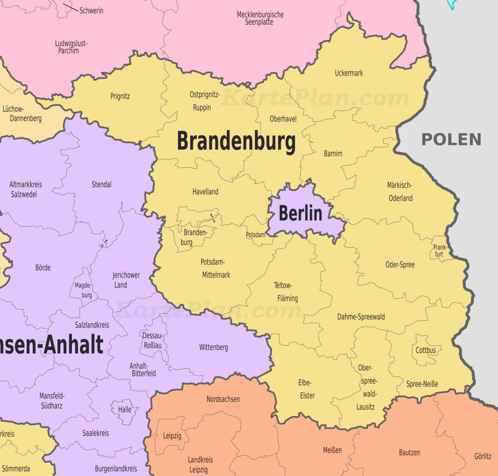 Land Brandenburg Karte.Verwaltungskarte Von Brandenburg
