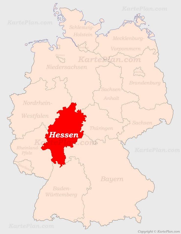 Hessen auf der Deutschlandkarte