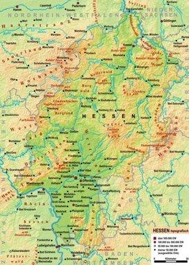 Physische landkarte von Hessen
