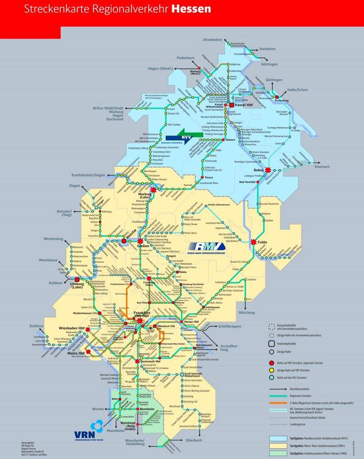 Schienennetz karte von Hessen