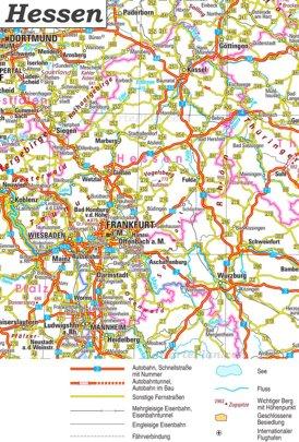 Straßenkarte von Hessen