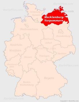 Mecklenburg-Vorpommern auf der Deutschlandkarte