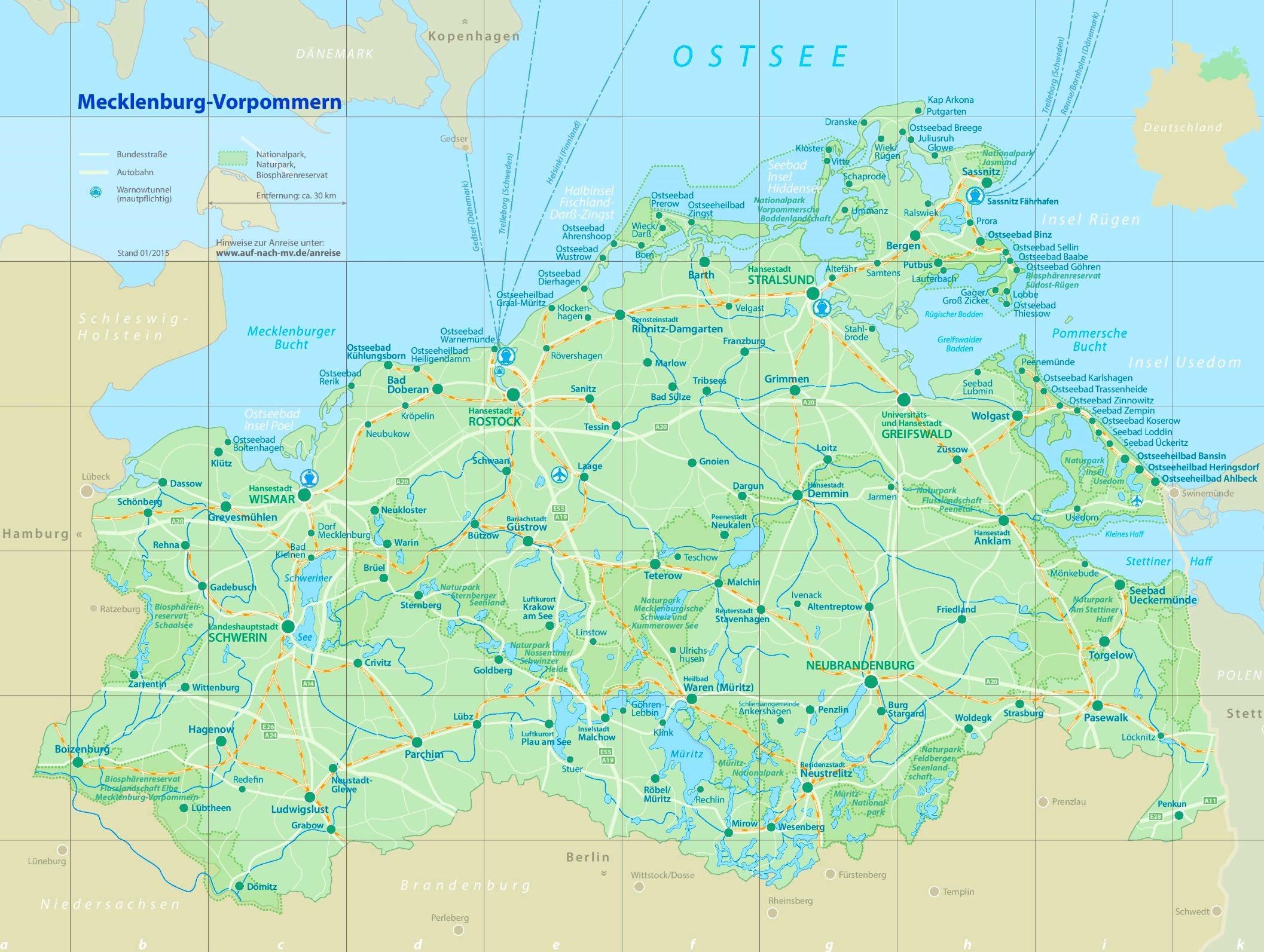Nationalparks in Mecklenburg-Vorpommern - Karte