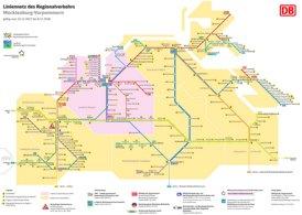 Schienennetz karte von Mecklenburg-Vorpommern