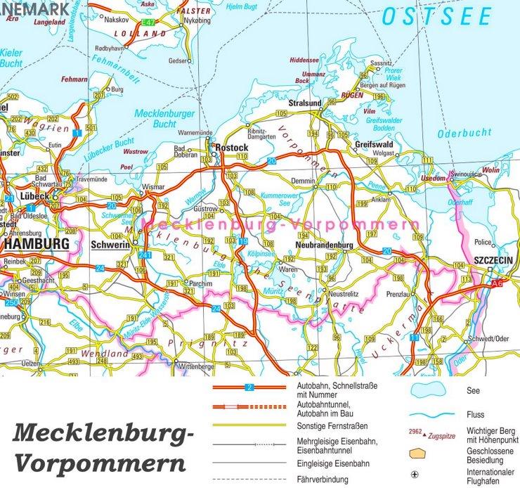 Straßenkarte von Mecklenburg-Vorpommern
