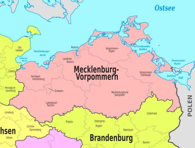 Verwaltungskarte von Mecklenburg-Vorpommern