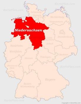 Niedersachsen auf der Deutschlandkarte