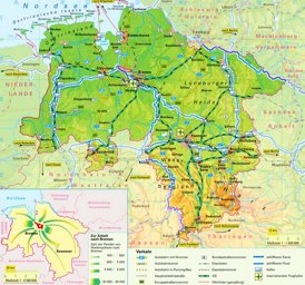 Physische landkarte von Niedersachsen