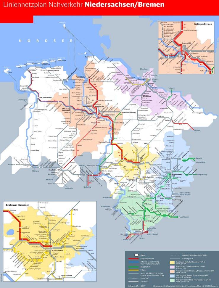 Schienennetz karte von Niedersachsen