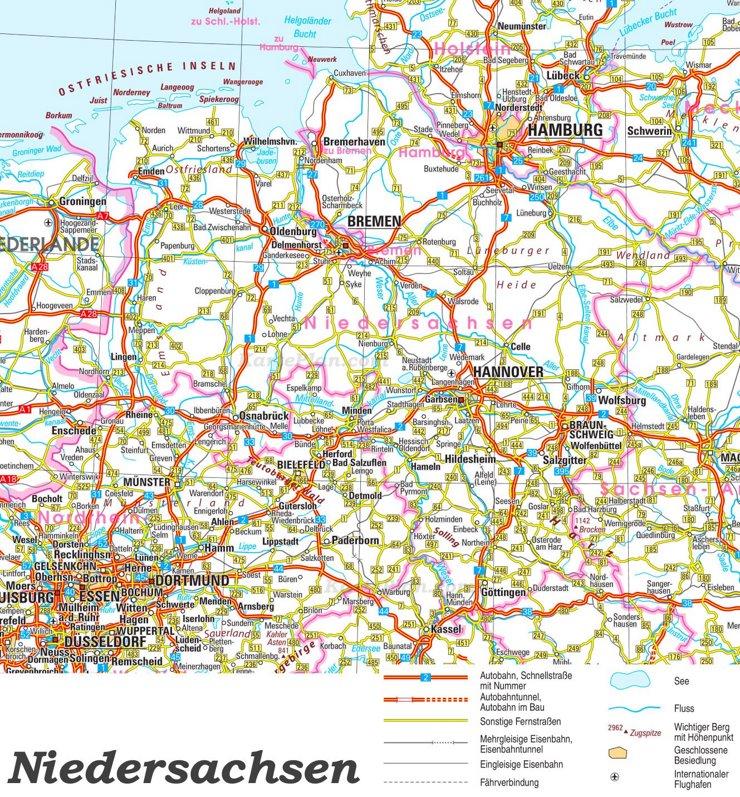 Straßenkarte von Niedersachsen