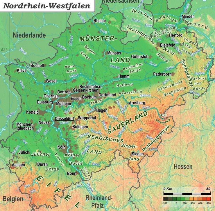 Physische landkarte von Nordrhein-Westfalen