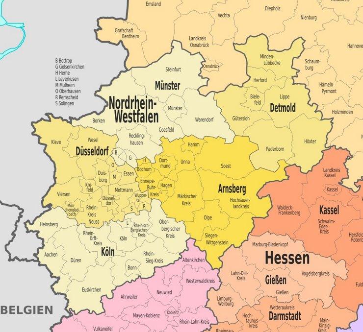Verwaltungskarte von Nordrhein-Westfalen