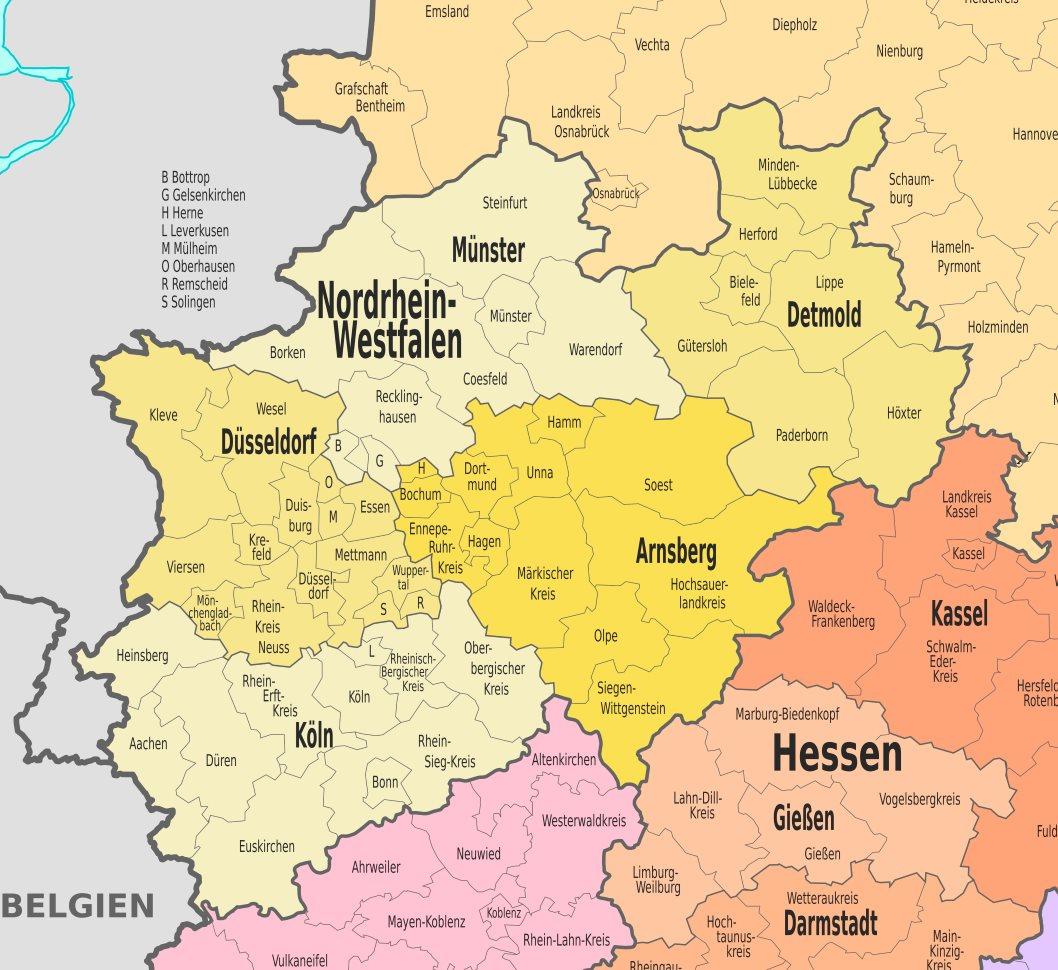 Nordrhein Westfalen Karte.Verwaltungskarte Von Nordrhein Westfalen