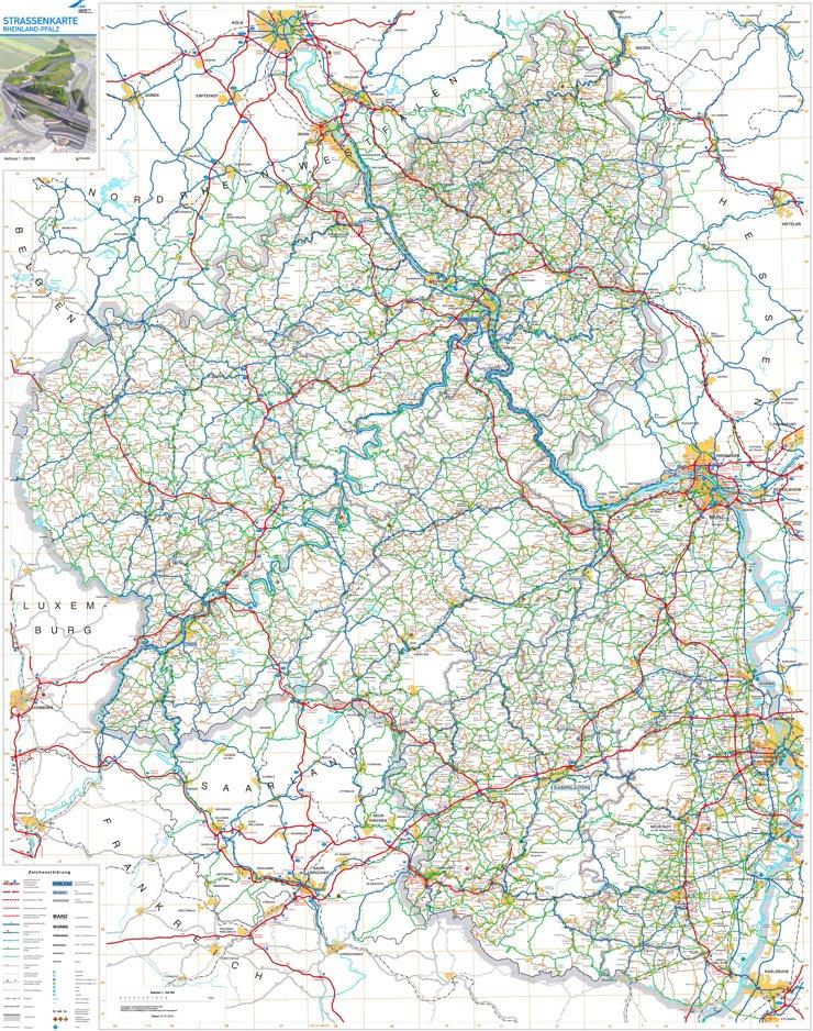 Große detaillierte karte von Rheinland-Pfalz