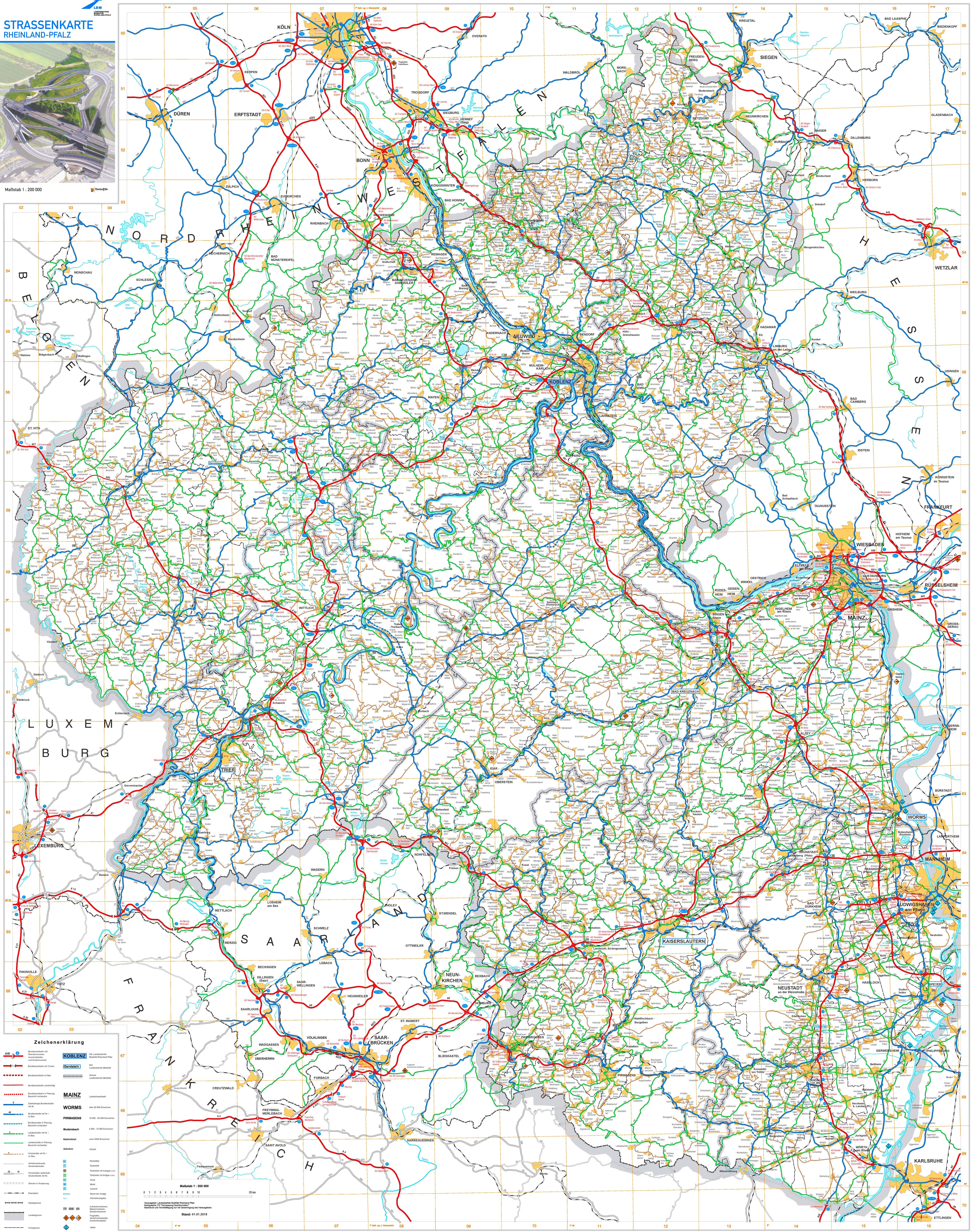 Grosse Detaillierte Karte Von Rheinland Pfalz