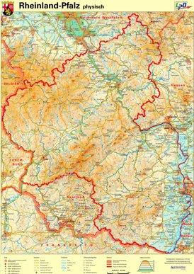 Physische landkarte von Rheinland-Pfalz