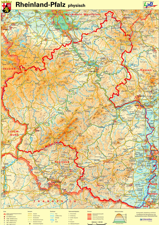 Physische Landkarte Von Rheinland Pfalz