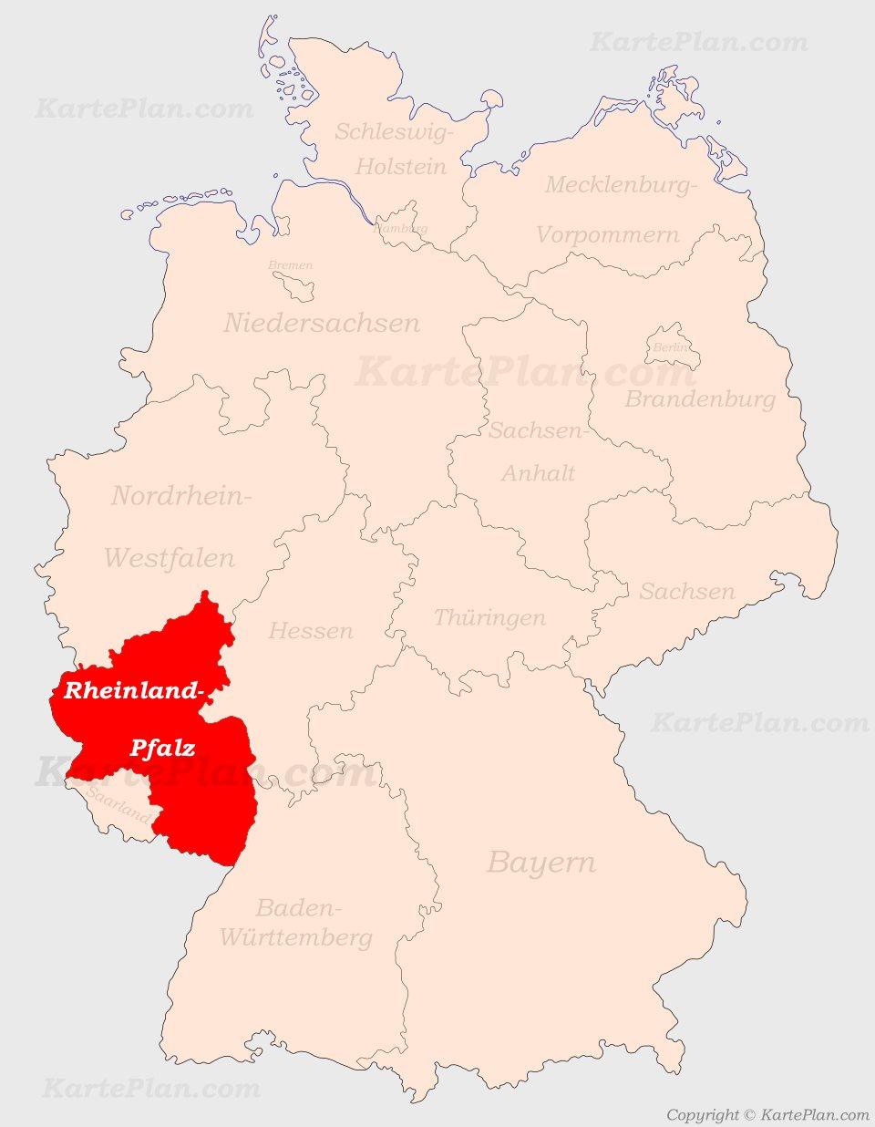 Karte Baden Württemberg Rheinland Pfalz.Rheinland Pfalz Auf Der Deutschlandkarte