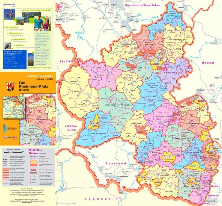 Rheinland-Pfalz politische karte