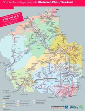 Schienennetz karte von Rheinland-Pfalz