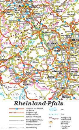 Straßenkarte von Rheinland-Pfalz