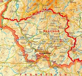 Physische landkarte von Saarland