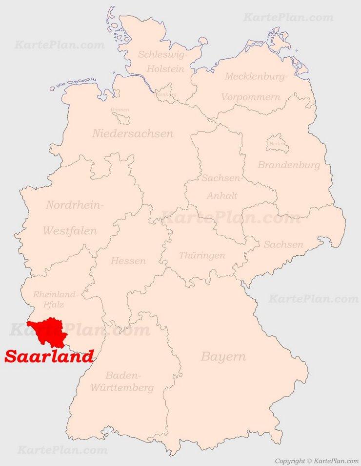 Saarland auf der Deutschlandkarte