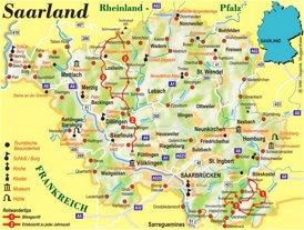 Saarland touristische karte