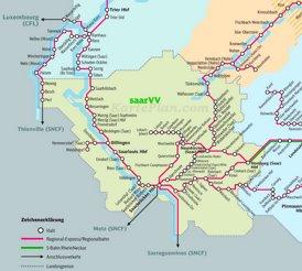 Schienennetz karte von Saarland