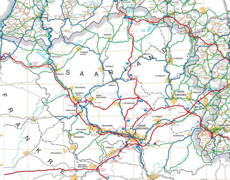 Straßenkarte von Saarland
