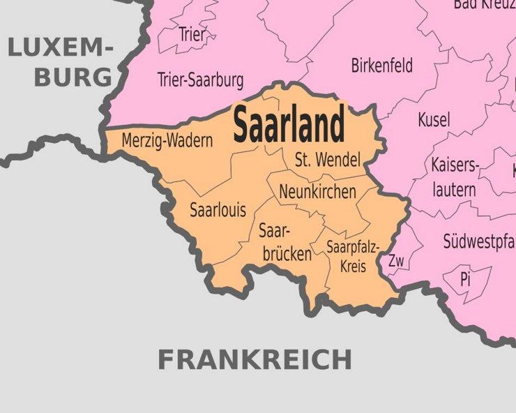 Verwaltungskarte von Saarland