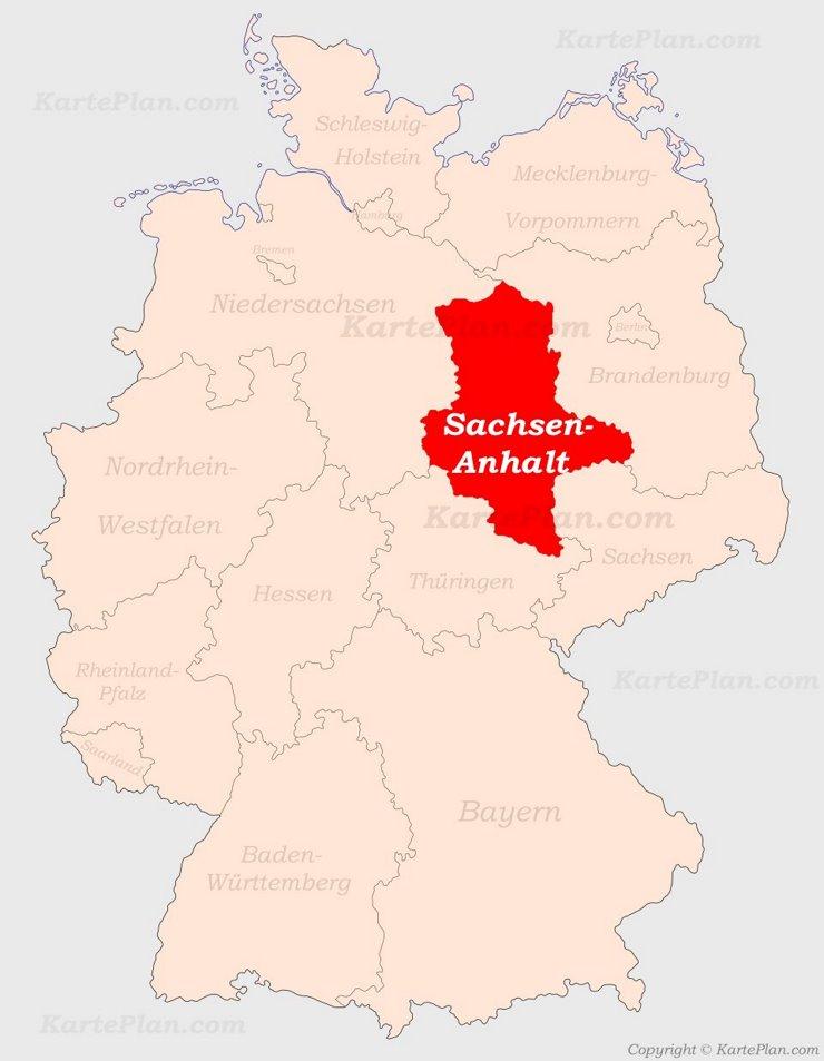 Sachsen-Anhalt auf der Deutschlandkarte