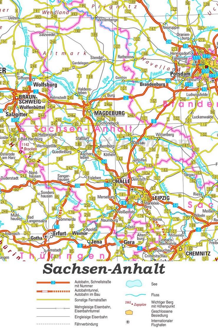 Straßenkarte von Sachsen-Anhalt