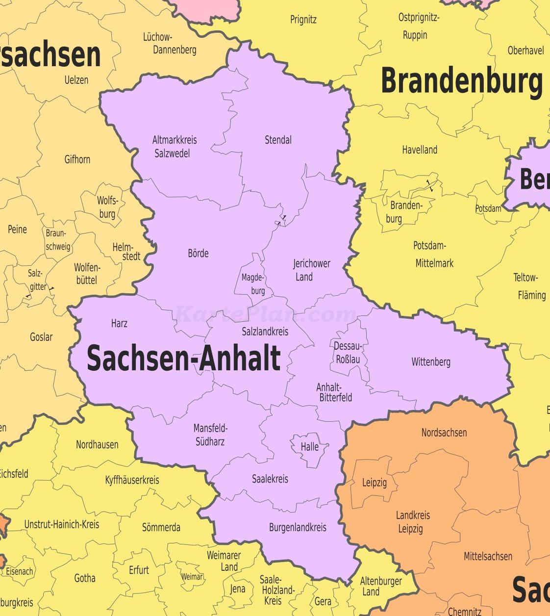 Karte Sachsen Anhalt.Verwaltungskarte Von Sachsen Anhalt